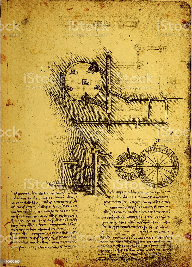 Old Engineering Drawing stock photo