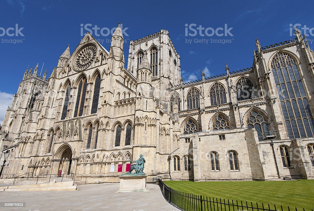 Old english cathedral in city center stock photo