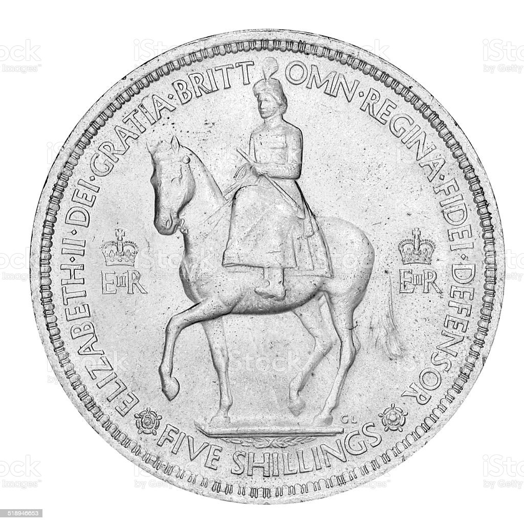 Old English Five Shilling Piece stock photo
