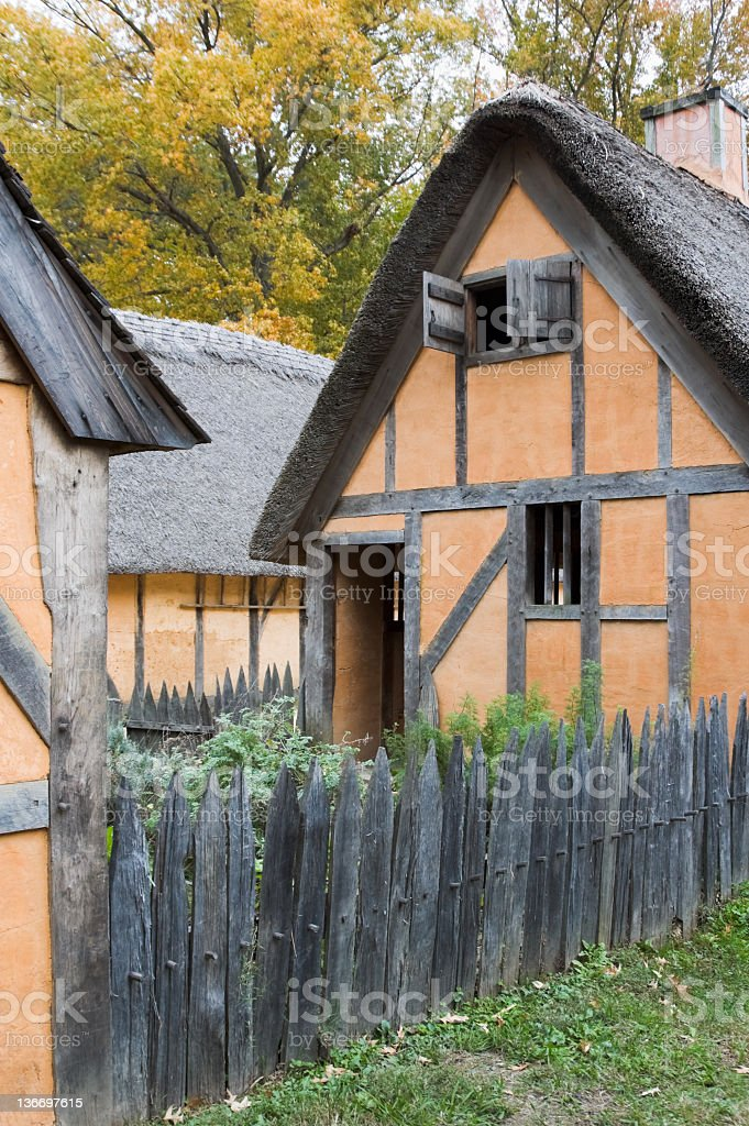 Old English Houses With Thatched Roofs, 1600's Reconstruction stock photo