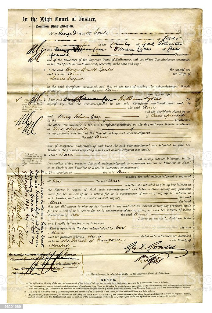 Old English Legal Document stock photo