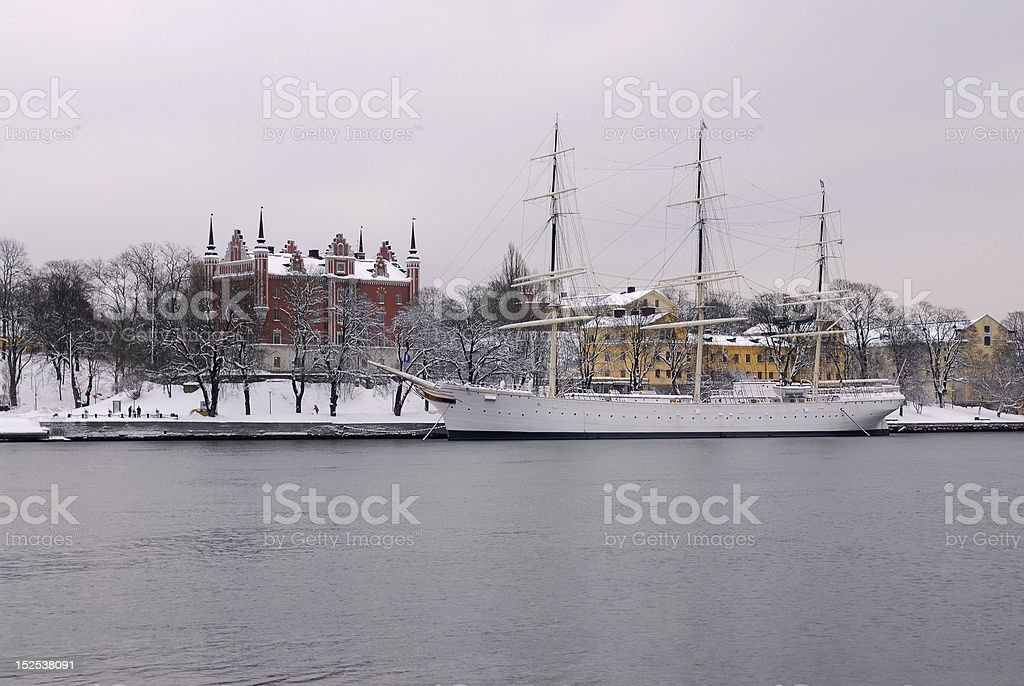 Old English sailing ship stock photo