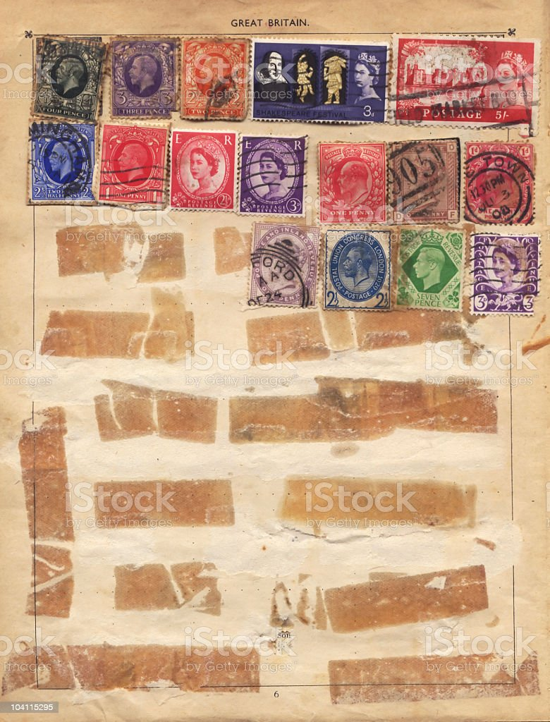 Old English Stamps stock photo