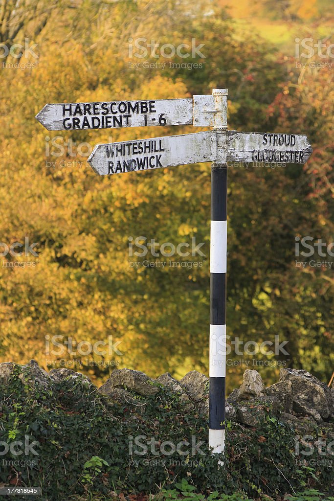 old english village signpost stock photo