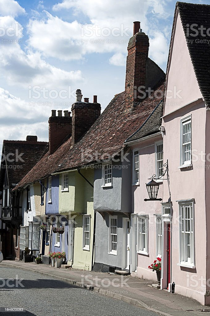Old English Village Street with coloured houses stock photo
