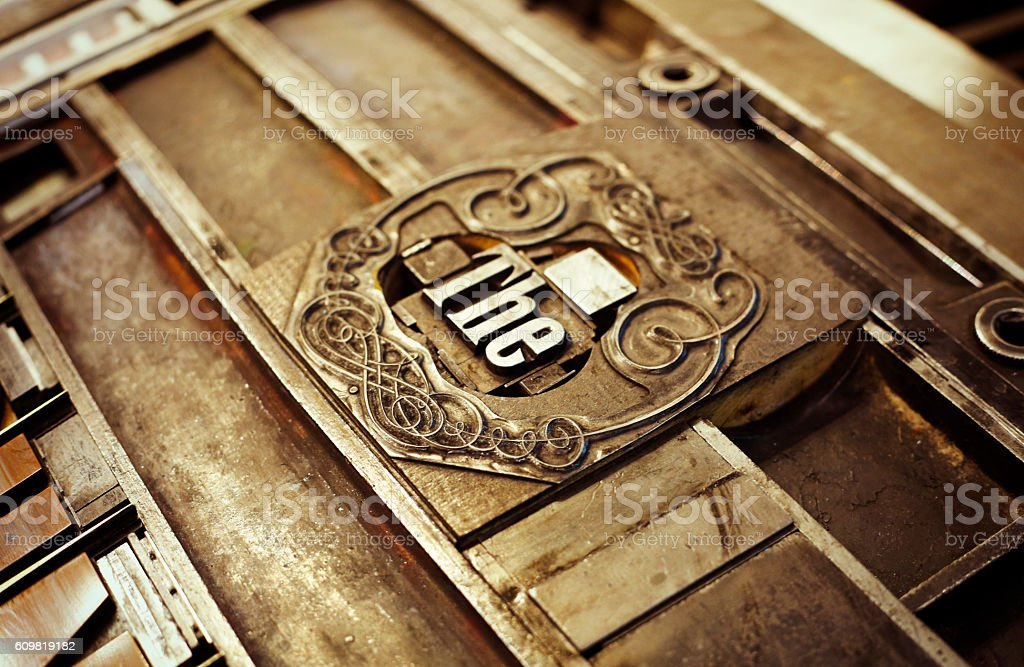 Old engraved block for printing stock photo
