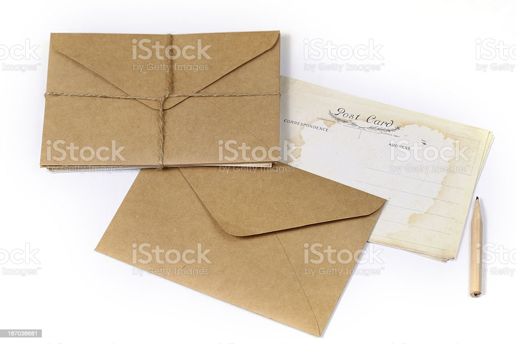 Old Envelop with post card royalty-free stock photo