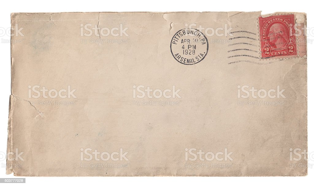Old Envelope And Stamp From 1928 stock photo