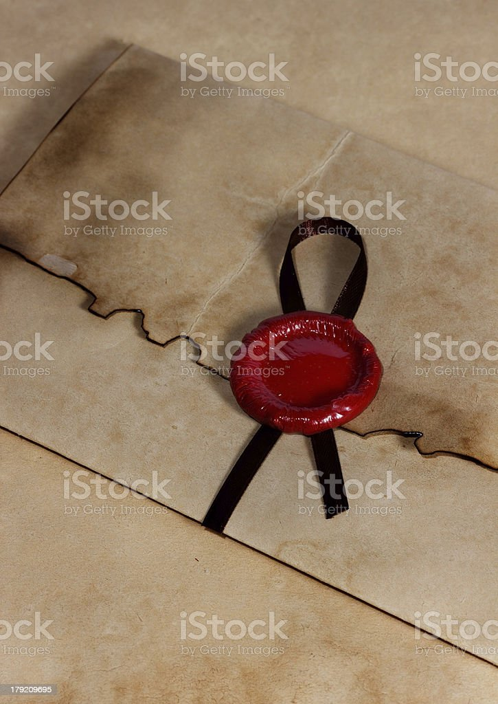 old envelope of ancient parchment paper royalty-free stock photo