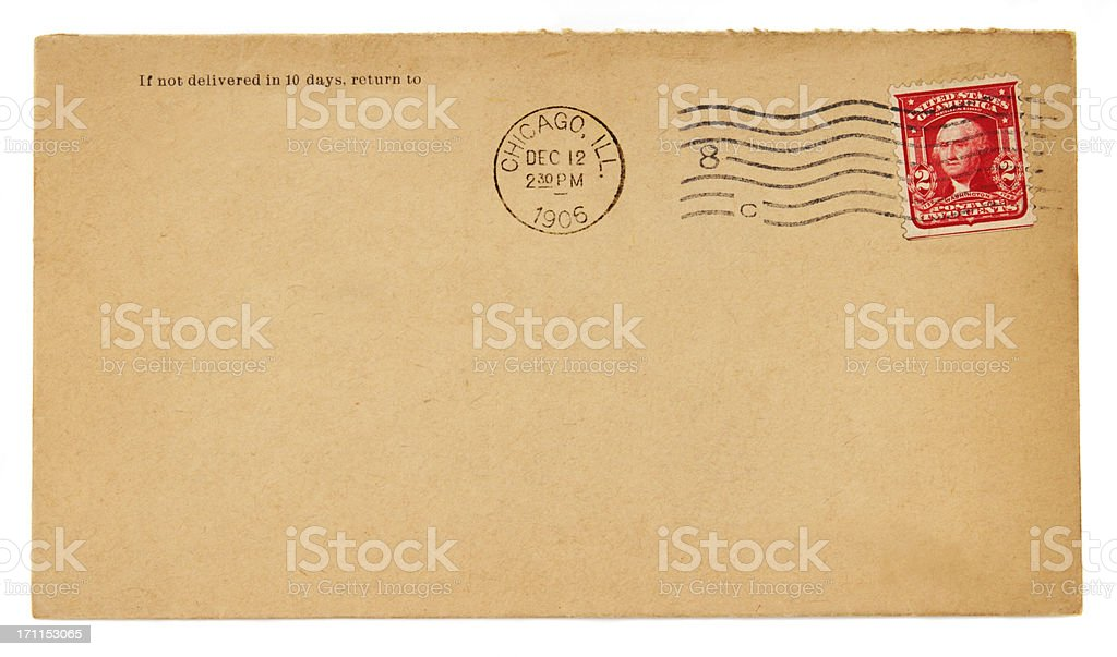 Old envelope with 1906 Chicago postmark and two cent stamp stock photo