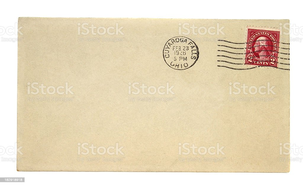 Old envelope with 1926 Cuyaroga Falls Ohio postmark stock photo