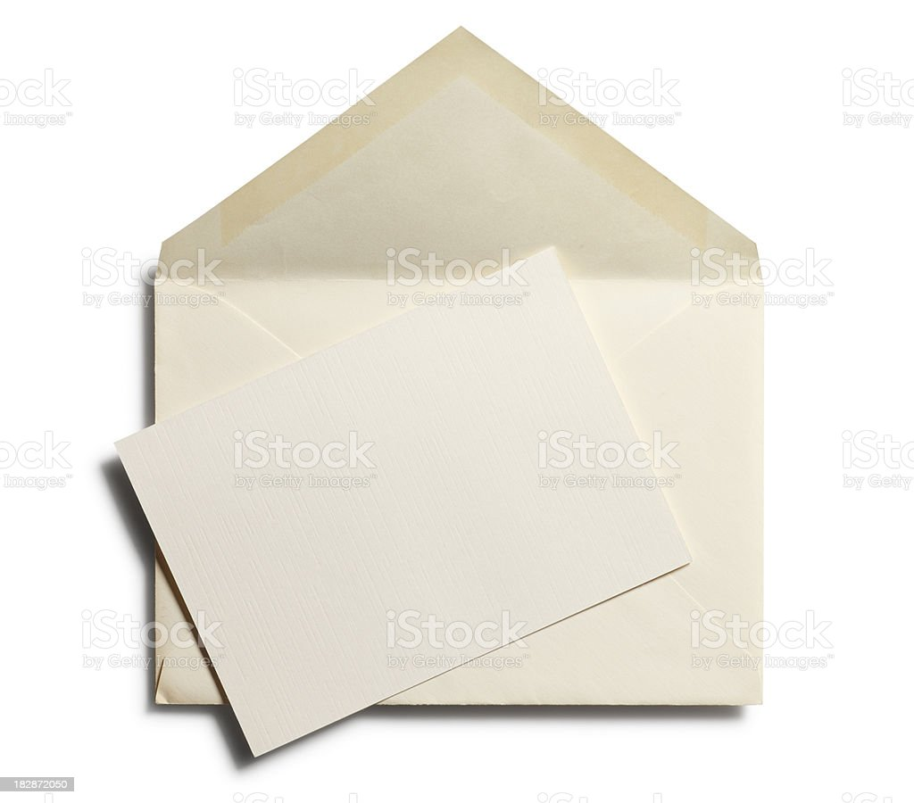Old Envelope with Blank Note stock photo