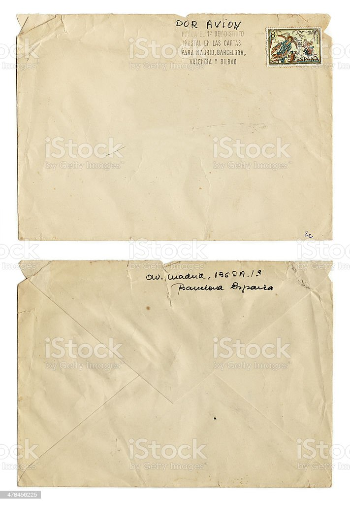 Old Envelope with Spanish stamp (including clipping path) stock photo