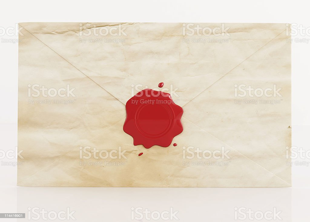 old envelope with wax seal stock photo