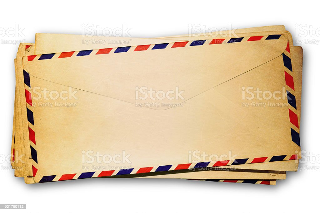 old envelopes on white background. stock photo