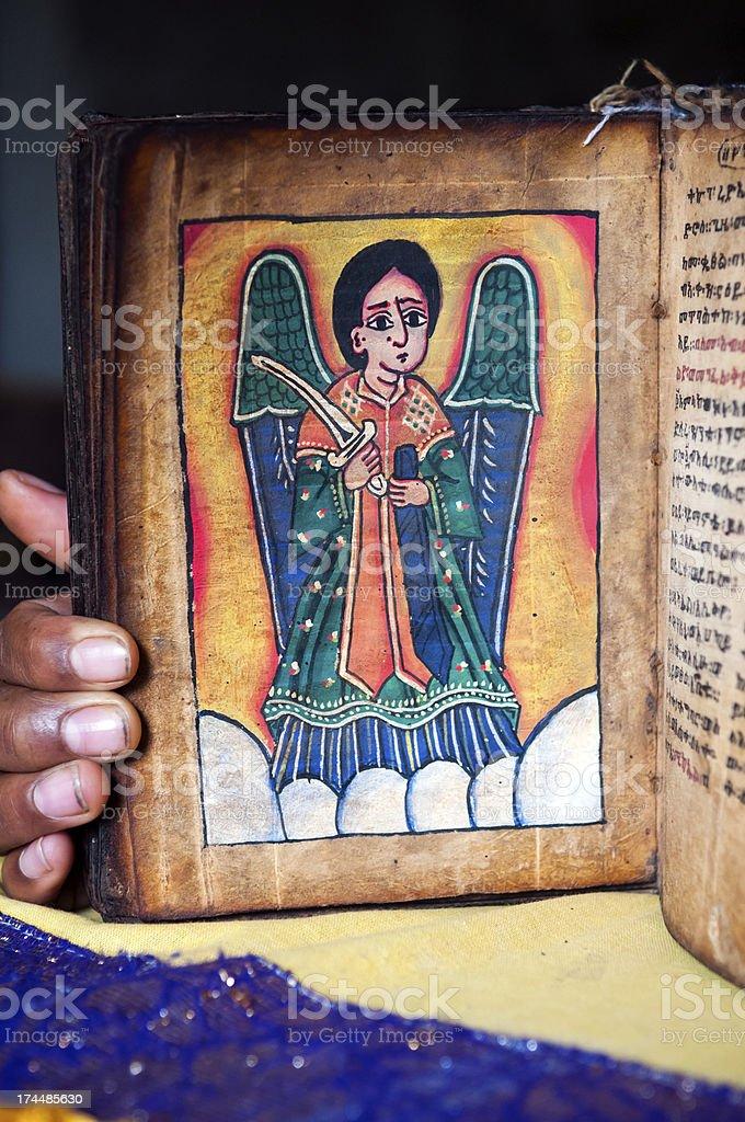 Old Ethiopian Christian book at Kebran Gabriel Monastery stock photo