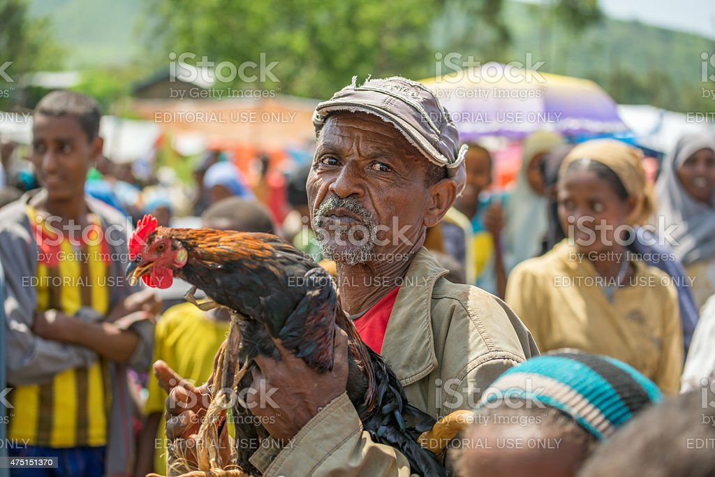 Old ethiopian man in a market, Jimma, Ethiopia stock photo