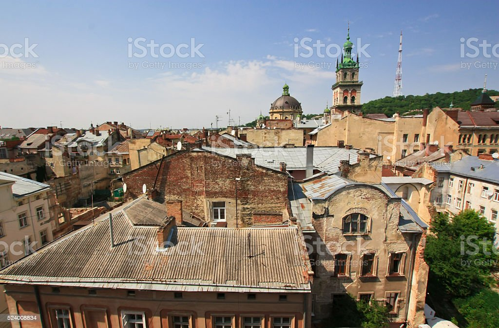 Old european architecture from rooftop stock photo