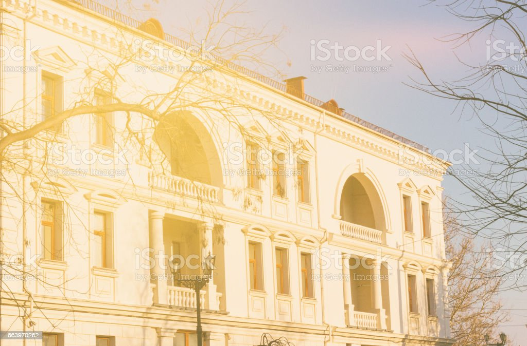 Old european building at spring day stock photo