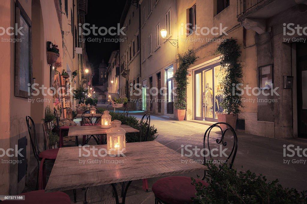 Old european city at night stock photo