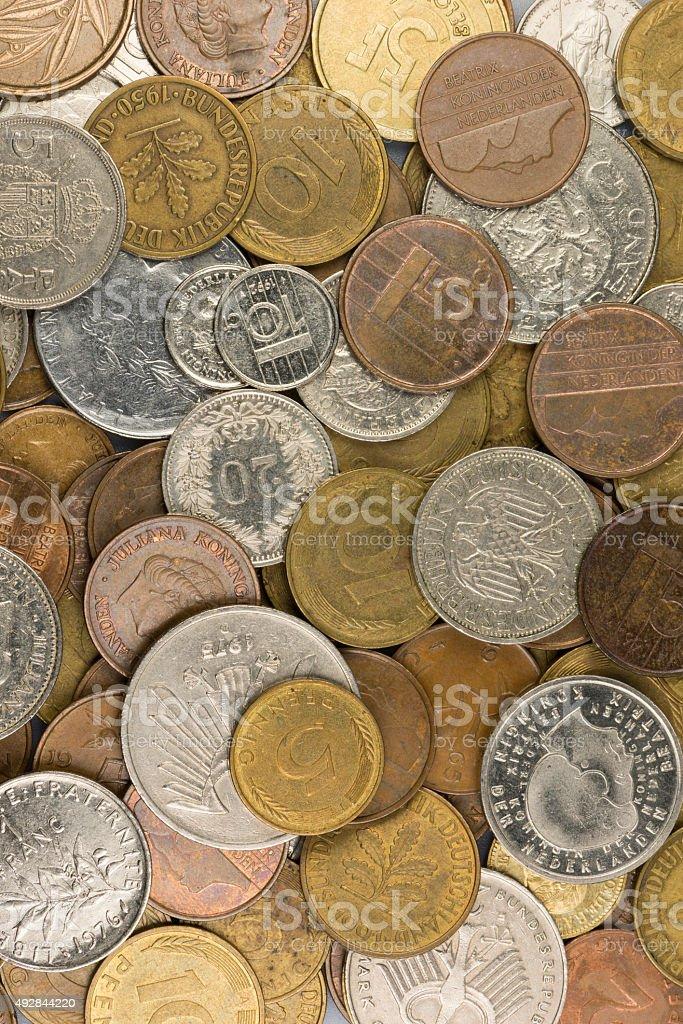 Old European coins. stock photo