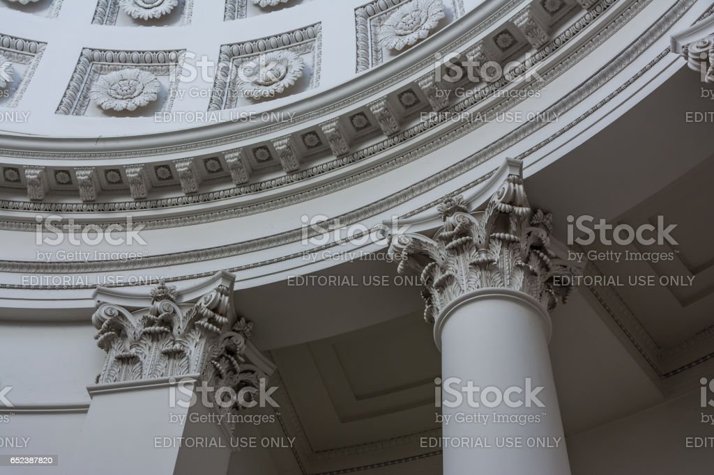 Old European Column Top Decoration Floral Architectural Style History stock photo