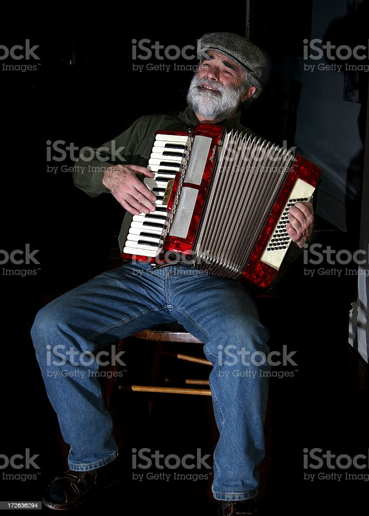 Old European Man - Playing Accordion 2 stock photo