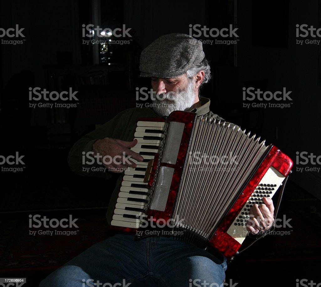 Old European Man - Playing Accordion II royalty-free stock photo