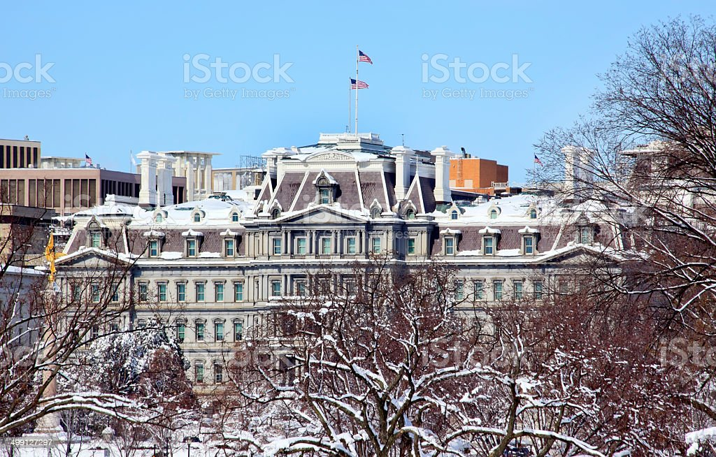 Old Excecutive Office Building After the Snow Constitution Avenu stock photo
