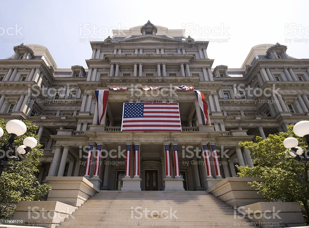 Old Executive Office Building Decorated 4th of July, Beaux-Arts Style stock photo