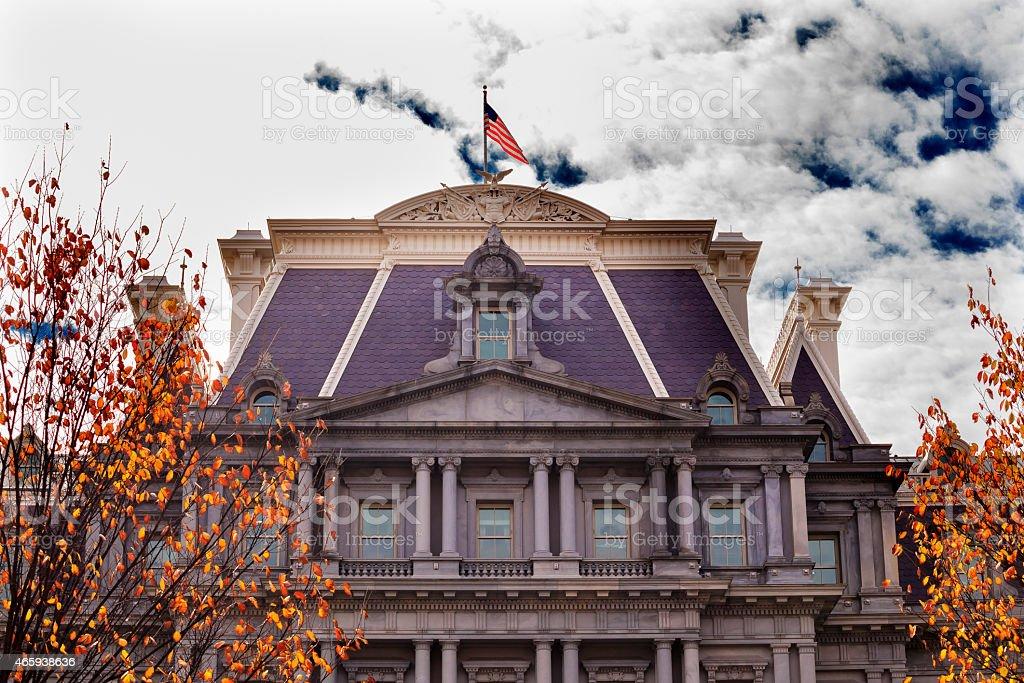 Old Executive Office Building Flag Washington DC stock photo