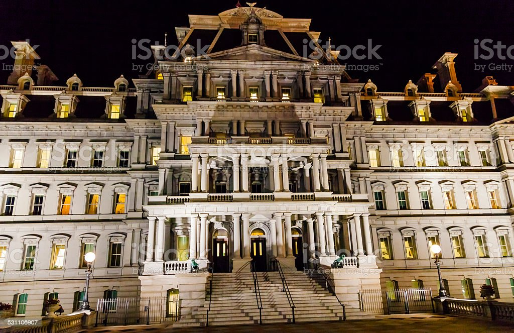Old Executive Office Building Night Washington DC stock photo
