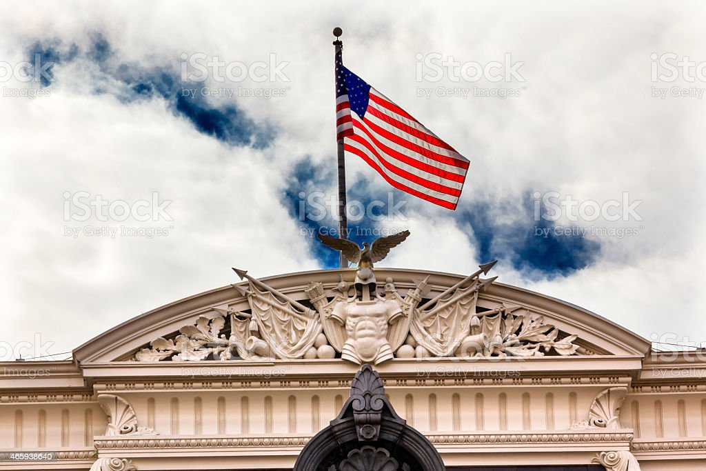 Old Executive Office Building Roof Decorations Flag Washington DC stock photo