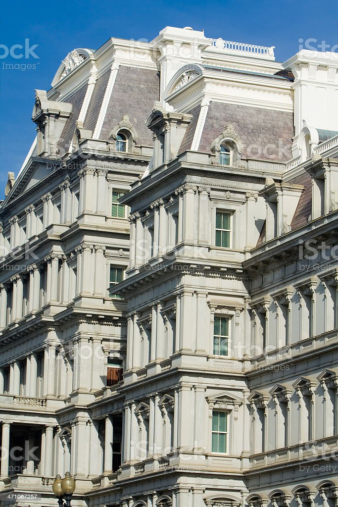 Old Executive Office Building Washington DC, Beaux-Arts Style, Blue Sky stock photo