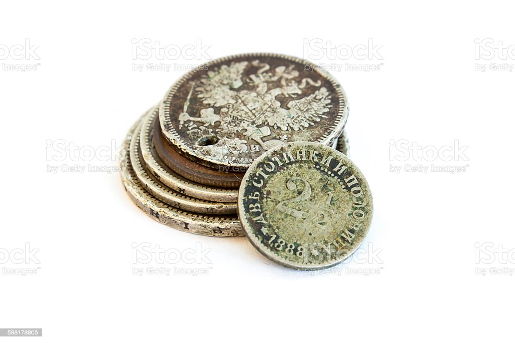 Old expired coins. Bulgarian coins and silver coins stock photo