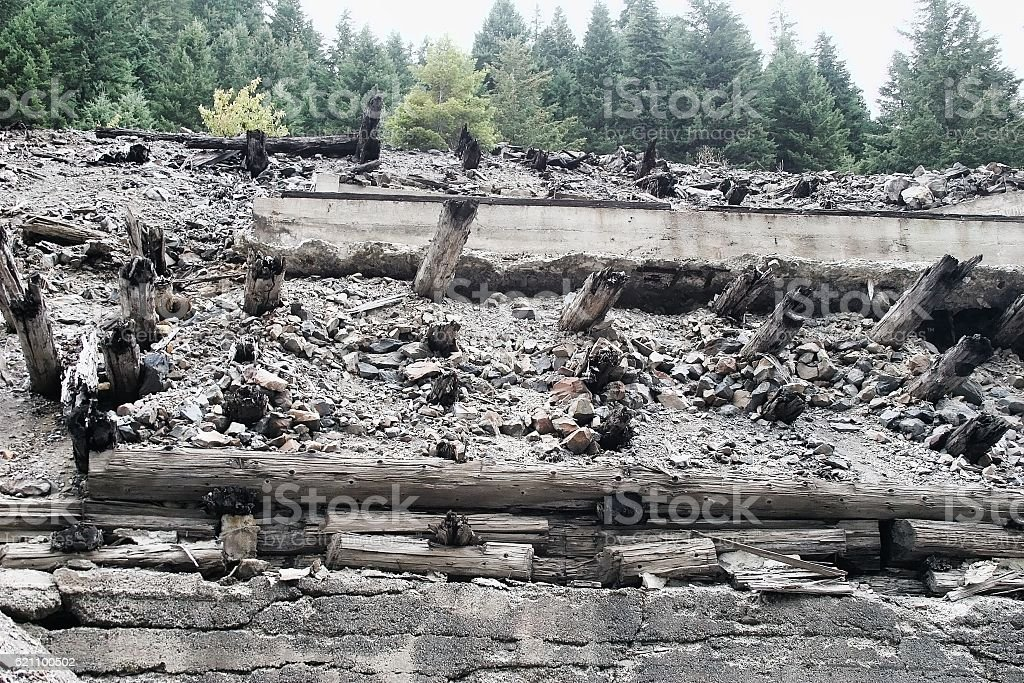 Old Exploded Mining Town stock photo