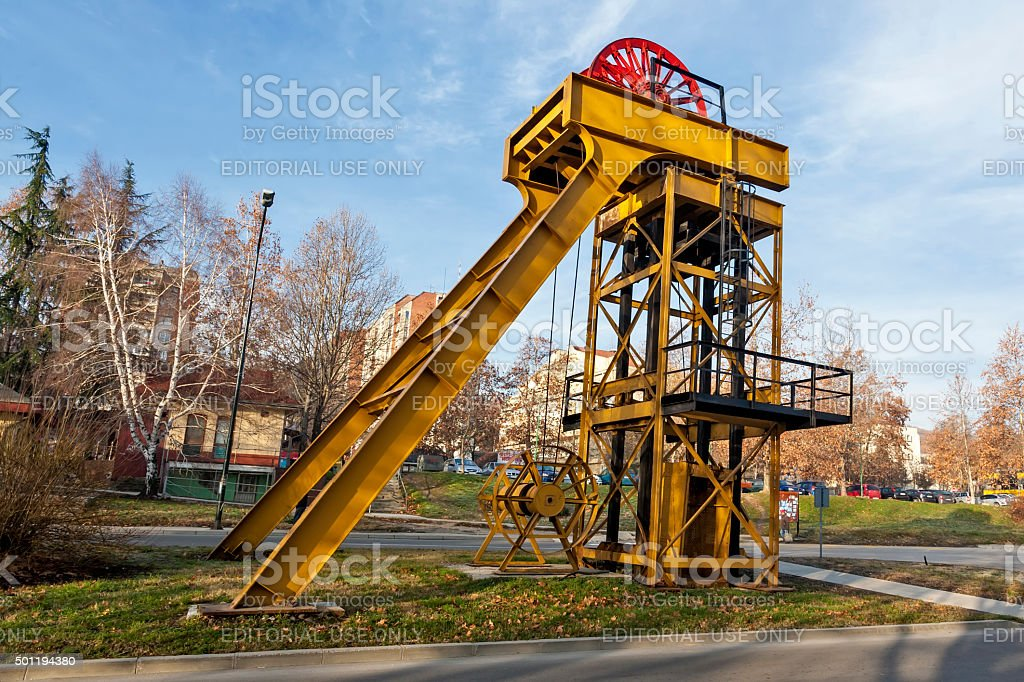 Old export shaft stock photo