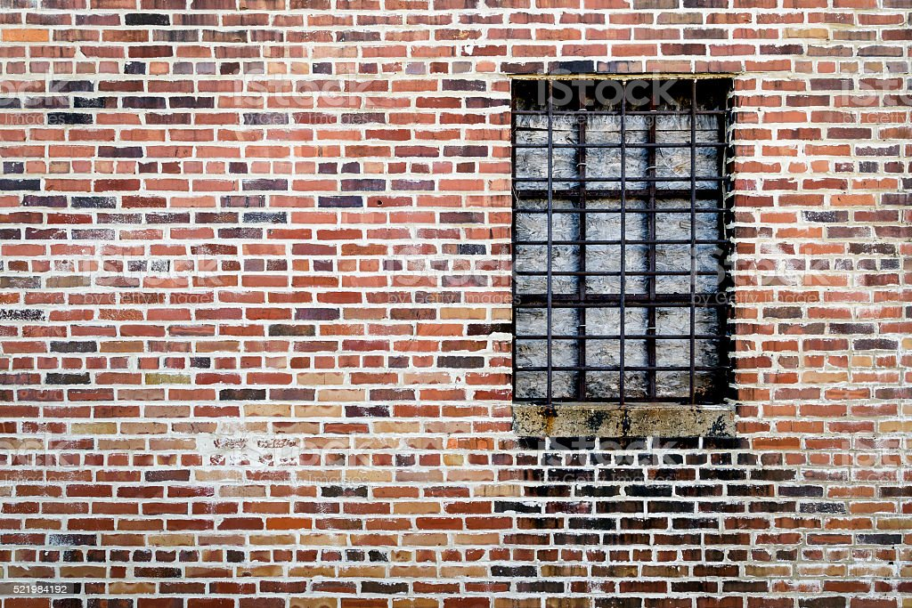 Old Exterior Brick Wall with Window stock photo