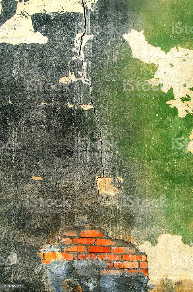 Old exterior wall of an abandoned factory royalty-free stock photo