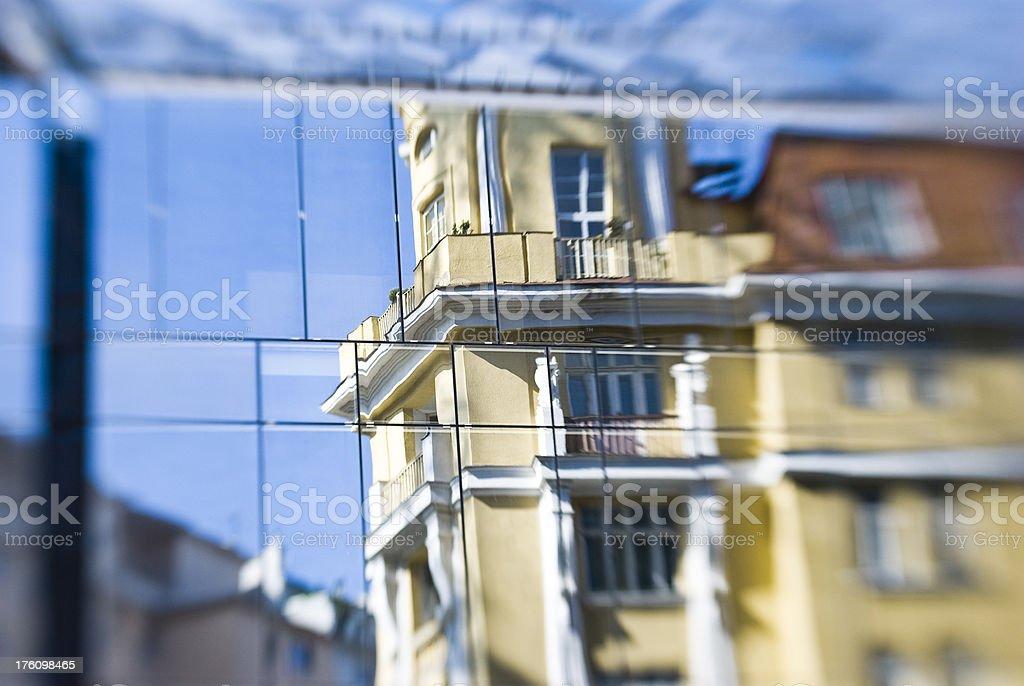 old facade reflection stock photo