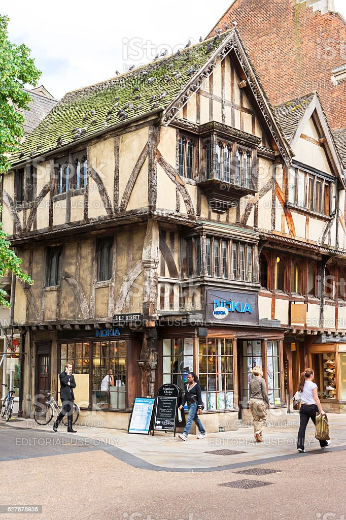 Old fachwerk houses with shops and restaurants in Oxford, England royalty-free stock photo