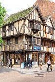 Old fachwerk houses with shops and restaurants in Oxford, England