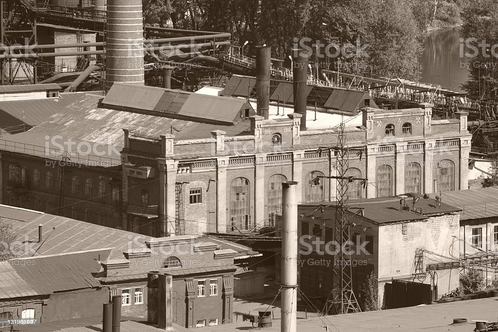 Old factor my vintage photo with buildings stock photo