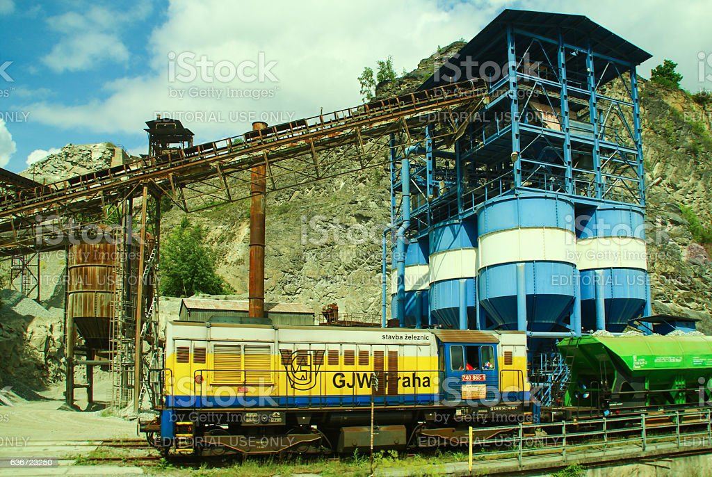Old factory and industrial train stock photo
