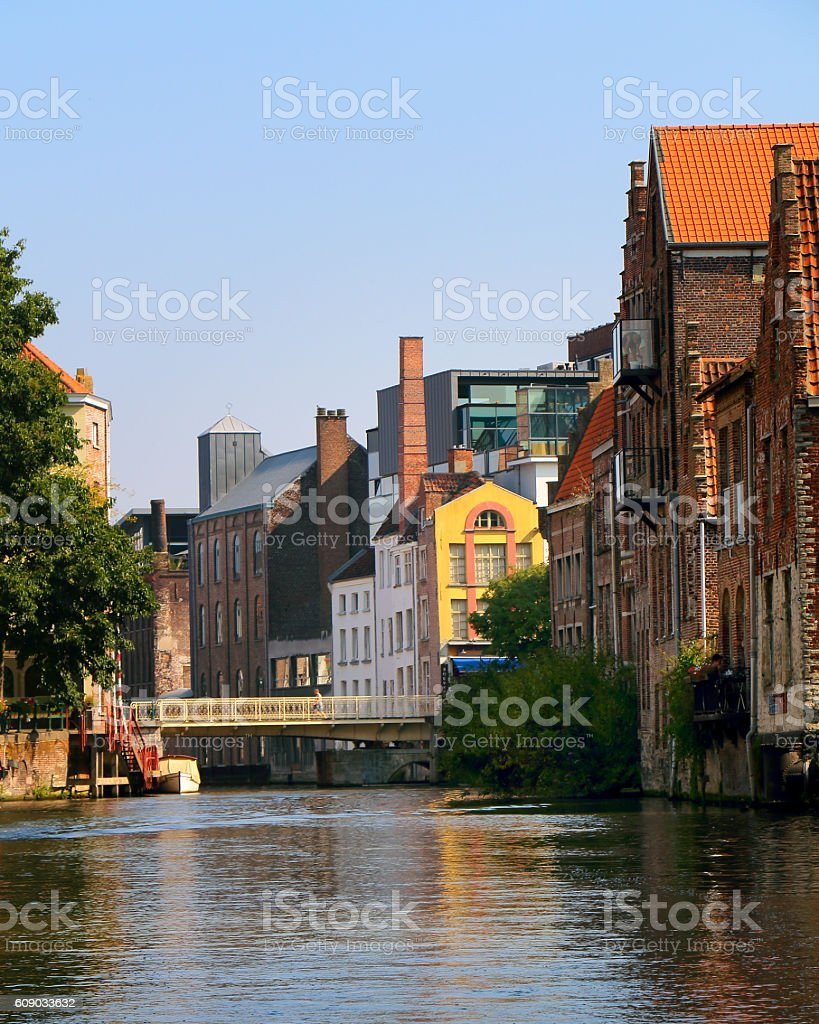 Old factory and residential buildings in Belgian city of Ghent stock photo
