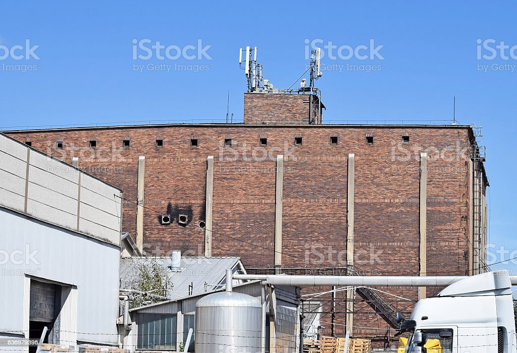 Old factory and warehouse building stock photo