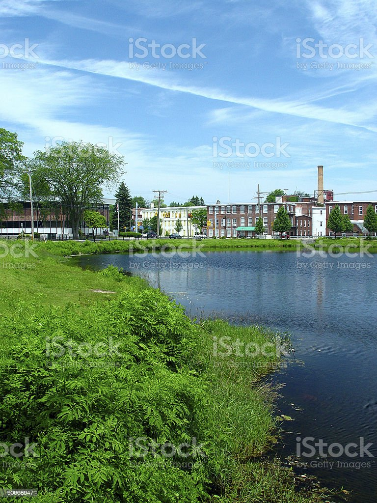 Old Factory at the pond royalty-free stock photo