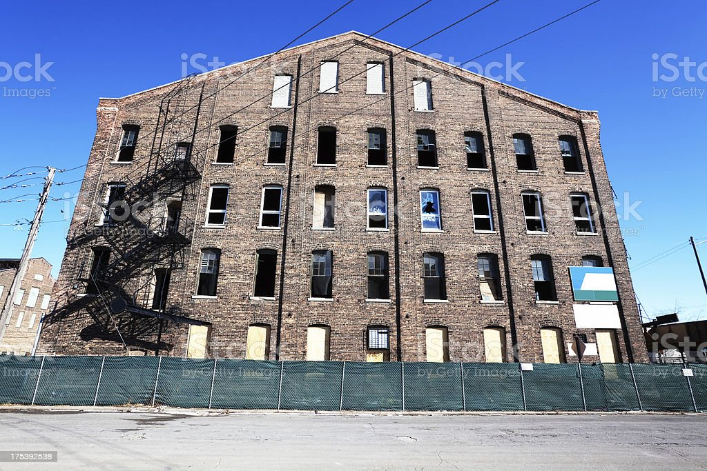 Old Factory Builing with broken windows in North Lawndale, Chica stock photo