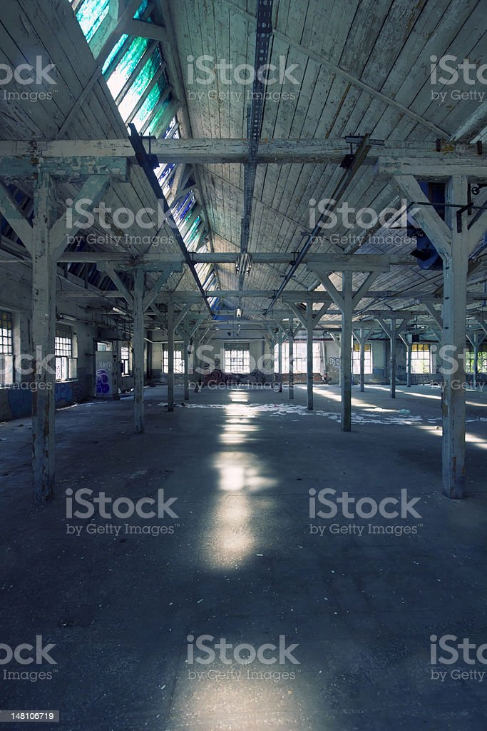 old factory hall in vertical composition royalty-free stock photo
