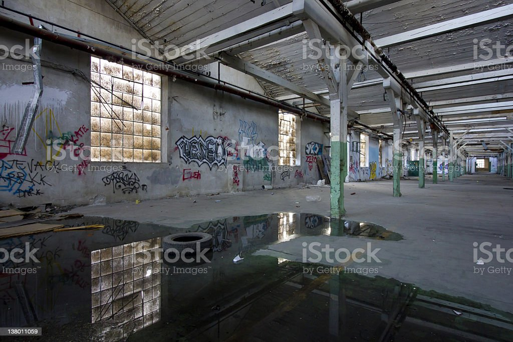 old factory hall with windows royalty-free stock photo